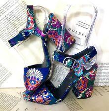 CHIO Satin Sandals Heel Brocade Satin Fabric Multi Color Floral Blue 36 New