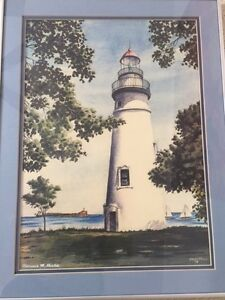 Lighthouse original painting singed by Clarence Shields