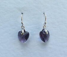 SMALL HEART DROP EARRINGS FACETED PURPLE GLASS SILVER PLATED FITTINGS