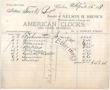 1879 Boston Massachusetts AMERICAN CLOCKS Nelson H. Brown BILLHEAD