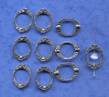 10 Marcos de Perla Oval plata tibetana/conector/espaciador con detalle de ambos lados