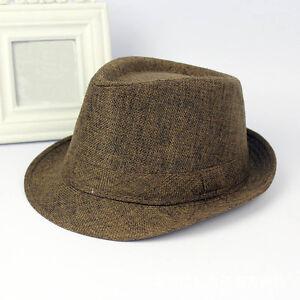 New Fashion Men Women Plain Jazz Fedora Cap Solid Color Trilby Panama Sun Hat