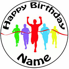 "Race Runners Running Personalised Icing Cake Topper Round Pre-cut 8"" (20cm)"