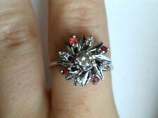 14k White Gold Diamond & Red Stone Flower Ring 1399