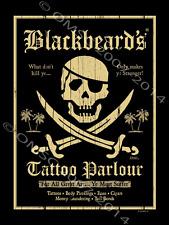 Blackbeards Tattoo Metal Sign, Pirates, Swords, Gameroom, Bar Decor, Caribbean