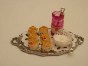 Dolls house food: Silver tray of scones with strawberry jam and cream  -By Fran