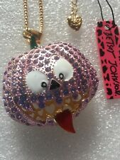 PURPLE Crystal Halloween Big Pumpkin Betsey Johnson Necklace-BJ42027