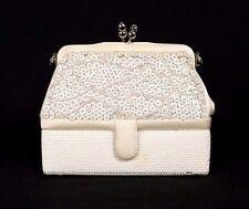 JUDITH LEIBER White Sequin & Crystal Encrusted Silk Satin Evening Bag