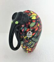 """RARE FENTON 2006 LIMITED DAVE FETTY 5.5"""" MOSAIC ELEPHANT MADE FOR NFGS SIGNED"""