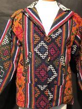 Vintage 70s Mexican Jacket Hand Loomed, Wool Blazer, Peruvian Tribal Hippy M
