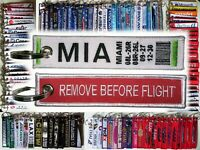 Keyring MIAMI MIA Intl Airport Remove Before Flight keychain bag tag