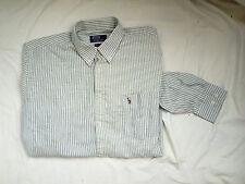 Herrenhemd Polo by Ralph Lauren,Weiß/ Grün gestreift ,Größe M,3x getragen
