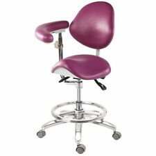 Dental Medical Mobile Chair Deluxe Saddle Chair Pu Leather with Armrest 18 Color