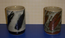 Two Pottery Cups Brown Blue 3.5 Inches Tall Handthrown Crackle Glaze