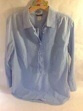 J.CREW 100% Cotton Pleated Bib Front Tuxedo Shirt Tunic Blue Chambray size M