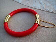 Vintage Red Jade ? Orange Coral? Bangle Bracelet