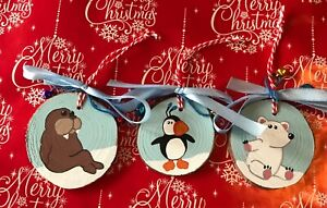 Handmade Painted Wooden Slice Christmas Decorations Set Of 3 Buddy the Elf Movie