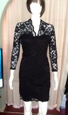 Black Fitted Dress With Lace Overtop With High Back Collar John Lewis Sz12