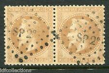 France Napoléon N°28A oblitération cachet ambulants SP2 en paire horizontale