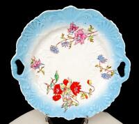 "OLD PARIS PORCELAIN SCROLL AND SHELL EMBOSSED FLORAL 9 3/4"" CAKE PLATE 1850-1899"