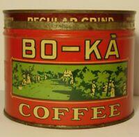 Old Vintage 1940s BO-KA COFFEE TIN ONE POUND PLANTATION GRAPHIC TIN LA NEW YORK