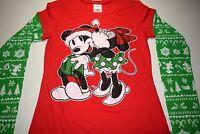 New Disney Mickey Mouse Holiday Christmas shirt womens juniors size S M L XL XXL