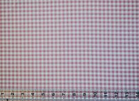 By the 1/2 yard cotton quilt fabric Pink White Gingham Check apparel home decor
