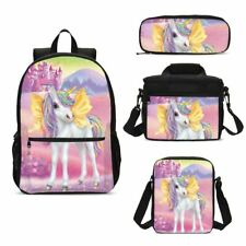 Anime Unicorn Magic Horse Student Backpack Lunchbox Tote Pen Case Boys Girls Lot