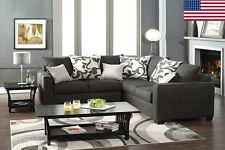 Charcoal Fabric Design W/ Pillows Living Room Transitional Sectional Sofa Set