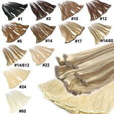 Clip In Extensions 40cm 45cm 60cm Farbwahl 100 % Indisches Remy Echthaar Glatt