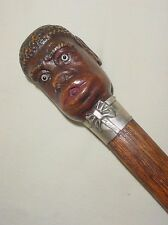 STERLING 925 WOOD MECHANICAL WALKING STICK BLACK MAN HEAD STICKS OUT TONGUE!