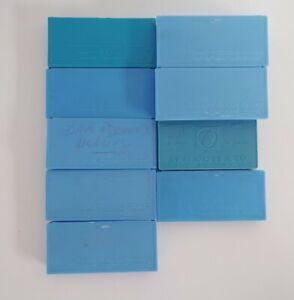9 Vintage Empty Slide Holders Blue Plastic