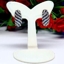 NATURAL HEATED INTENSE BLUE & WHITE DIAMOND CUT SAPPHIRE EARRINGS 925 SILVER