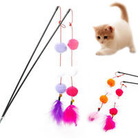 Cat Feather Fluffy Ball Stick Teaser Kitten Interactive Wand Playing Toy Natural