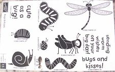 "SUQ  STAMPIN' UP! ""BUGS AND KISSES"" WOOD SET OF 11 FUN STAMPS"