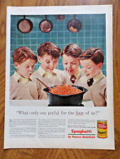 1955 Franco-American Spaghetti Ad Potful for the 4 of Us Red Head Freckle Boys