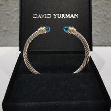 5MM David Yurman Blue Topaz Silver 14K gold Cable Cuff Classic Bracelet
