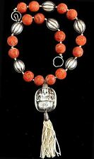 "Antique Chinese Sterling Silver and Sponge Coral Beads Necklace ""SIGNED"""