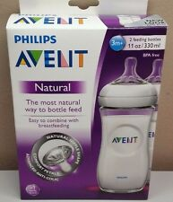 NEW Philips Avent Natural Baby Bottles 11oz 3m+ 2 Pack FREE SHIPPING