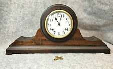New Haven Clock Co 8-day Mahogany Tambour mantel clock~ see video ~