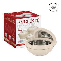 Hot Pot 3pc Set Food Warmer Serving Insulated Casserole Dish Pan Bowl AMB Cream