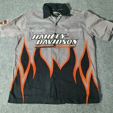 Vintage HARLEY DAVIDSON Mens Short Sleeve Shirt Medium | USA Biker Y2K Flames