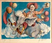Vintage Watercolor Painting Circus Clown on Elephant w/ Balloons Signed & Framed