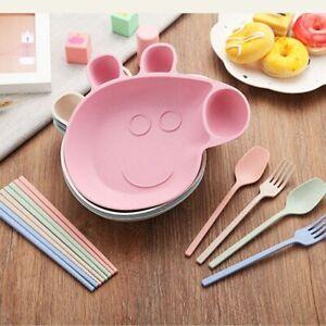 4PCS Wheat Straw Children's Baby Peppa Pig Shape Grid Plates Plate Cutlery Set