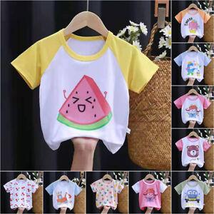 Kids Boys Girls Cartoon Print Short Sleeve T-Shirt Summer Casual Holiday Tee Top