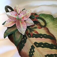Fitz And Floyd Orchid  / Banana Leaf Tray/plate  Large Mint Rare