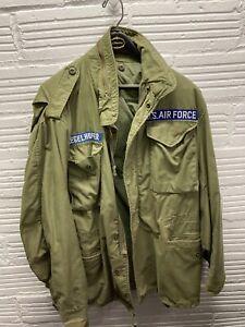VTG Vietnam War US Air Force Cold Weather Field Coat Jacket Med Long Distressed