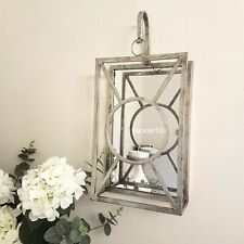 Large Mirrored WALL SCONCE Candle Tealight Holder metal aged SILVER Finish