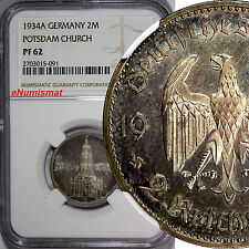 Germany,Third Reich PROOF Silver 1934-A 2 Reichsmark NGC PF62 POSTDAM KM# 81