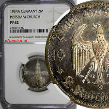 Germany,Third Reich PROOF Silver 1934-A 2 Reichsmark NGC PF62 POSTDAM KM# 81